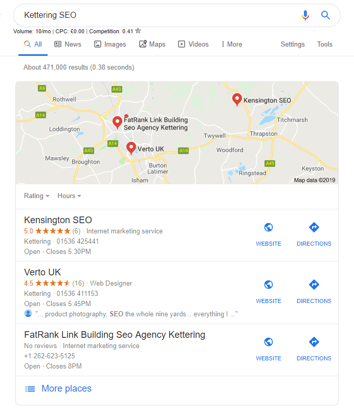 Kensington SEO - Top of the Map Pack