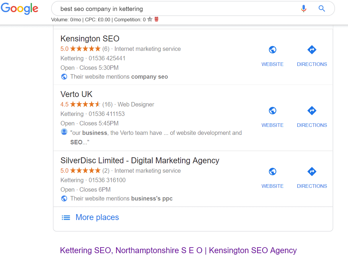 Example of Google SERP